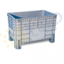 Caja de plástico con laterales y fondo lisos 285 litros