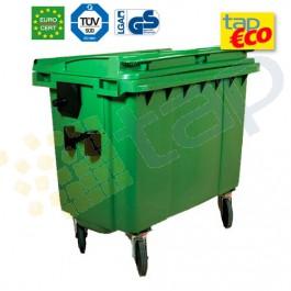 Contenedor para residuos 4 ruedas 660 L verde