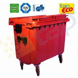 Contenedor para residuos 4 ruedas 1000 L rojo