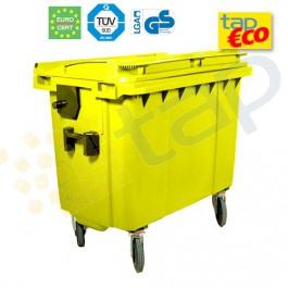 Contenedor para residuos 4 ruedas 1000 L amarillo