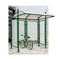 Collar de fijación de chapa para estructura cubierta para bicicletas