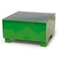 Cubeta colectora para 1 bidón pintada verde con enrejado