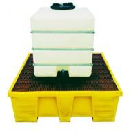 Cubeta colectora reforzada de PEAD para 1 GRG/IBC con enrejado de PEAD