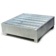 Cubeta colectora galvanizada para 4 bidones con enrejado Wireline®