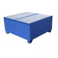 Cubeta colectora pintada azul para 4 bidones con enrejado prensado