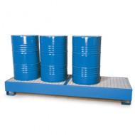 Cubeta colectora pintada azul para 4 bidones en línea con enrejado prensado