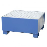 Cubeta colectora para 1 bidón pintada azul con enrejado