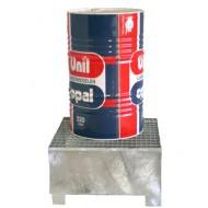 Cubeta colectora galvanizada para 1 bidón con enrejado