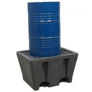 Cubeta colectora de PEAD para 1 bidón con enrejado de acero prensado
