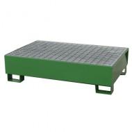 Cubeta colectora pintada verde para 2 bidones con enrejado prensado