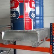 Cubeta colectora galvanizada con patines para 2 bidones 220 L con enrejado