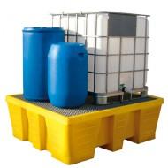Cubeta colectora de PEAD para 1 GRG/IBC con enrejado de acero prensado