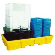 Cubeta colectora de PEAD para 2 GRG/IBC 1050 L - Enrejado galvanizado