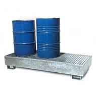 Cubeta colectora galvanizada para 3 bidones con enrejado prensado