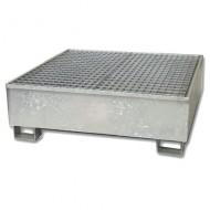 Cubeta colectora galvanizada para 4 bidones con enrejado prensado