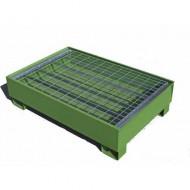 Cubeta colectora pintada verde para 2 bidones con enrejado Wireline®