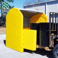 Caseta de almacenamiento extensible de PEAD para 4 bidones