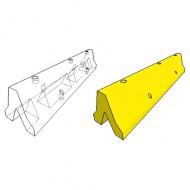 Tope de seguridad para colocar en el suelo. Tope de gran altura de goma pintada amarilla