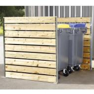 Grande protección para contenedores con tablas de madera