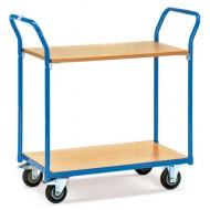 Carro con plataforma 2 estantes de madera 850x500 mm