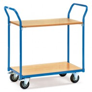 Carro con plataforma 2 estantes de madera 1000x700 mm