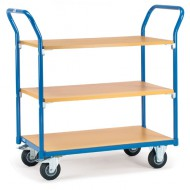Carro con plataforma 3 estantes de madera 850x500 mm