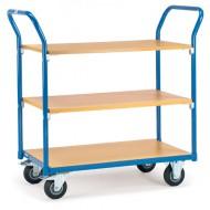 Carro con plataforma 3 estantes de madera 1000x700 mm