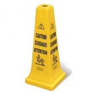 """Cono de seguridad multilingüe """"Cuidado"""" + símbolo"""