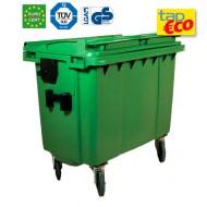 Contenedor para residuos 4 ruedas 1000 L verde