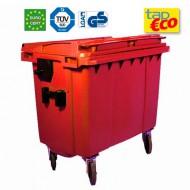 Contenedor para residuos 4 ruedas 660 L rojo