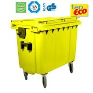 Contenedor para residuos 4 ruedas 660 L amarillo