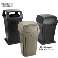 Contenedor fijo para residuos negro con 2 tapones de entrada