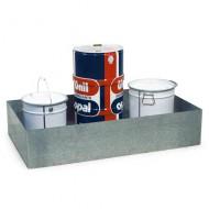 Cubeta colectora galvanizada 225 litros para mesas de trabajo