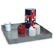 Cubeta colectora galvanizada 205 litros para mesas de trabajo