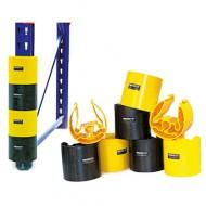 Lote de 4 protecciones de bastidor: 2 negras y 2 amarillas (65 mm)