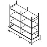 Estantería doble para pequeños contenedores con cubeta colectora
