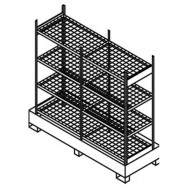 Estantería doble para pequeños contenedores con cubeta colectora y estantes de enrejado