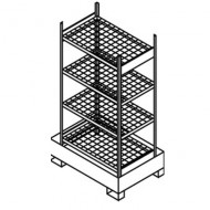 Estantería para pequeños contenedores con cubeta colectora y estantes de enrejado