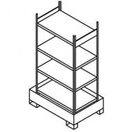 Estantería para pequeños contenedores con cubeta colectora 4 estantes simples