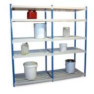 Estantería con estantes de tubos y retención, elemento de base