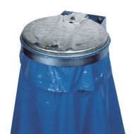 Soporte mural con tapa para bolsas de basura galvanizado