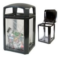 Soporte para bolsas de seguridad con paneles transparentes, negro